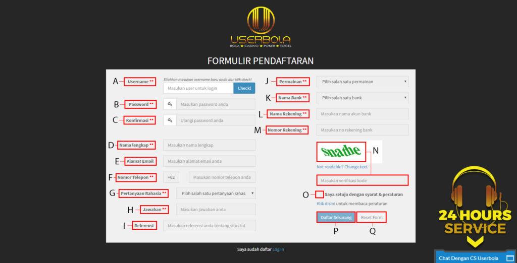 Formulir Pendaftaran Userjudi